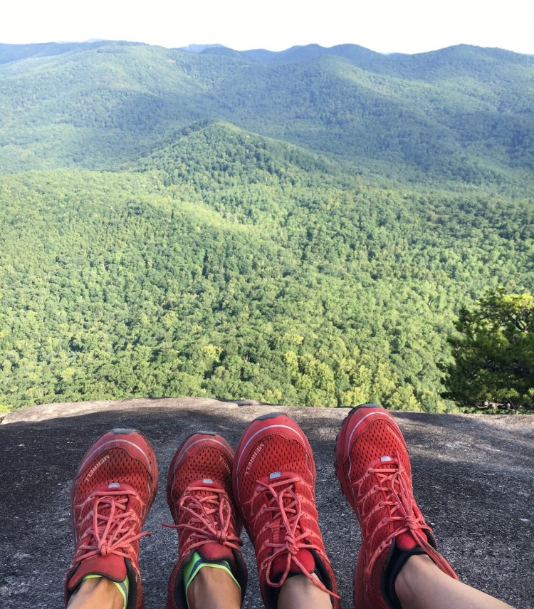the summertime view of the mountains from the top of Looking Glass Rock Trail, one of the best hikes near Asheville, NC.