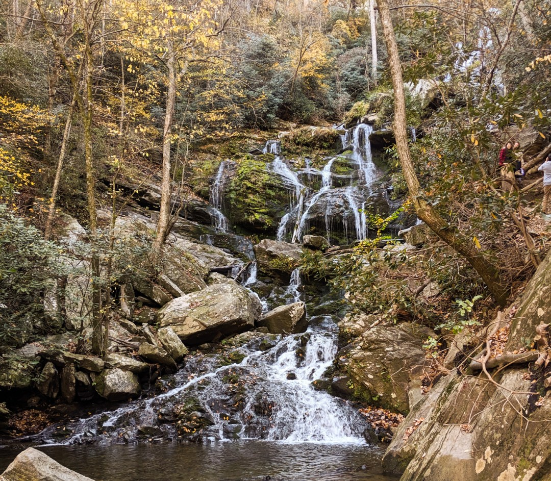 A view of Catawba Falls, one of the best hikes near Asheville, NC in the late fall.