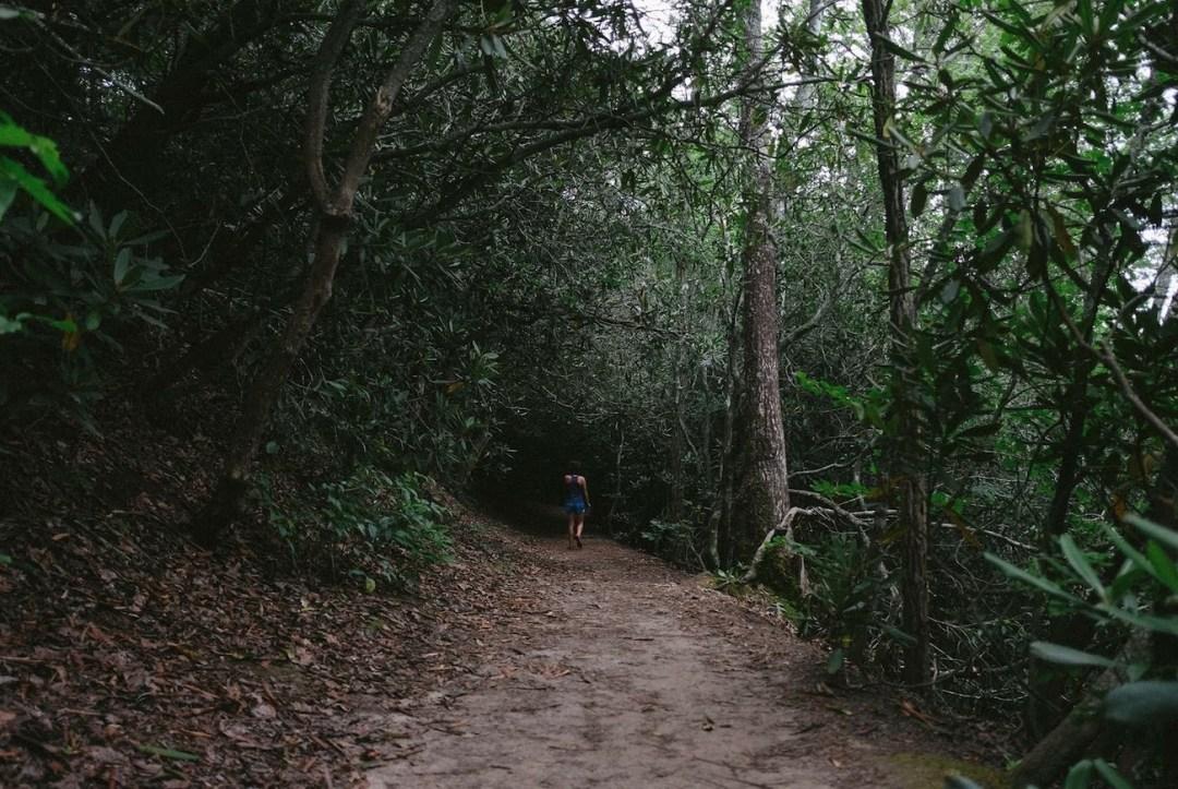 Caroline Whatley hiking in Bent Creek
