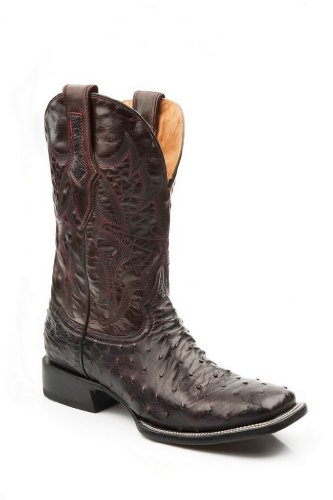 Stetson Men's Cherry Full Quill Square Toe Black Ostrich Cowboy Boots 8 M