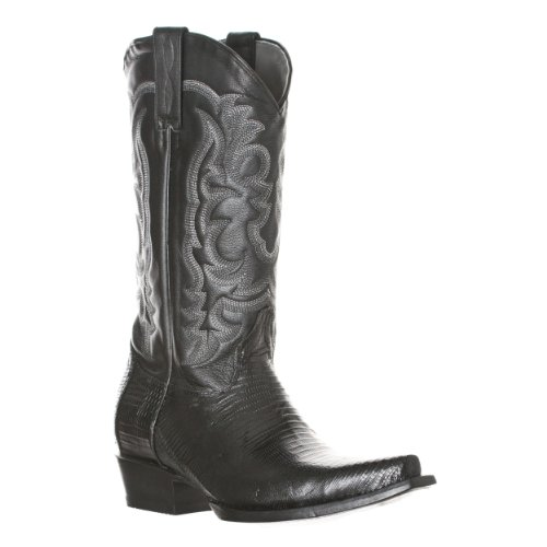 Los Altos Men's Teju Lizard and Cobra Leather Snip Toe Boots, Black, Size 10