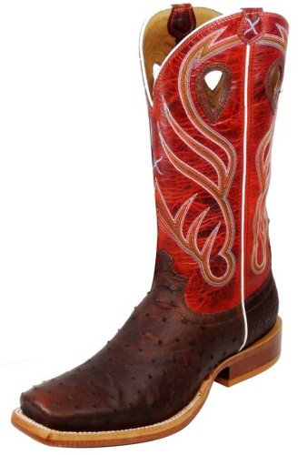 Twisted X Boots Men's MRAL001,Oiled Brandy Full Quill Ostrich/Orange Leather,US