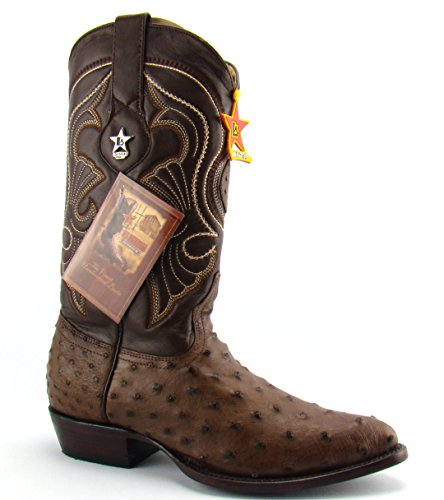 Los Altos Mens Brown Ostrich Cowboy Boots Genuine Exotic Leather Western Boot 9 D