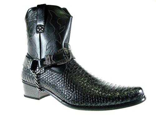 Alberto Fellini Men's Japan Faux Snake Westren Cowboy Style Calf High Dress Boots, Black, 9.5
