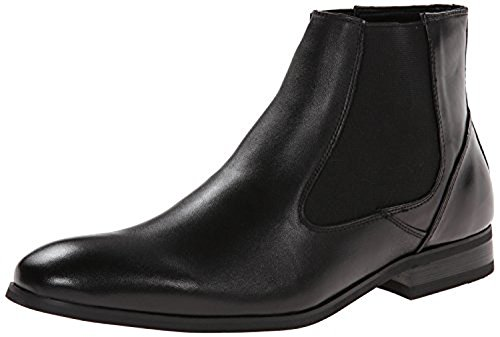 Kenneth Cole Reaction Men's Check It Out Leather Chelsea Boot, Black, 8.5 M US