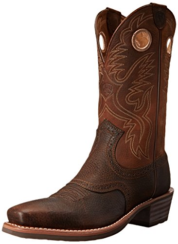 Ariat Men's Heritage Roughstock Square Toe Western Boot,  Brown Oiled Rowdy,  9.5 EE US