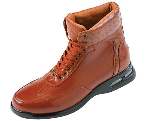 Pelle Pelle Mens High Top Air Bottom Casual Sneaker Boot in Cognac Smooth with Ostrich Quill Printed Collar : Style PP1501 Cognac-215 9 D (M) US