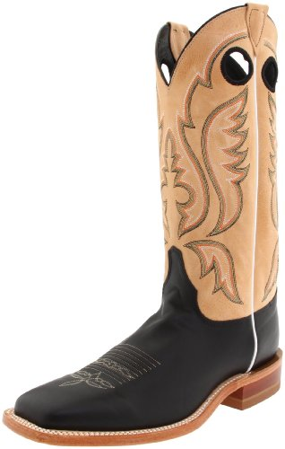 Justin Boots Men's U.S.A. Bent Rail Collection 13″ Boot Wide Square Double Stitch Toe Leather Outsole,Black Burnished Calf/Toast Tumbleweed,14 EE US