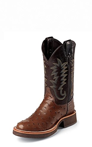 Justin Boots 5031 Men's 11-in Full Quill Ostrich Boot Antique Brown 12 D US