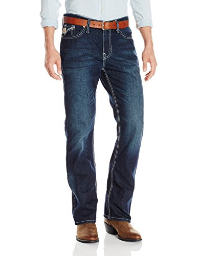 Cinch Men's Ian Mid Rise Slim Fit Boot Cut Jean, Indigo, 34×30