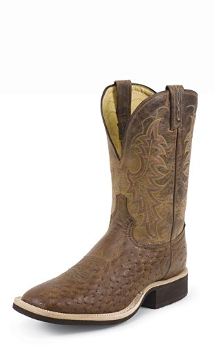 Tony Lama Men's Smooth Quill Ostrich Cowboy Boot Wide Square Toe Dark Brn US