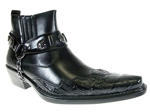 07817d035 Alfa Men s M1084 Ankle High Westren Cowboy Boots Metal Chain and Harness