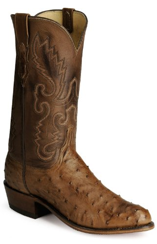 Lucchese Men's Handcrafted 1883 Full Quill Ostrich Boot Medium Toe Barnwood 9 EE US