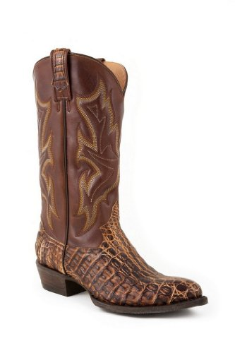 Stetson Men's Pinon and Rustic Tan Caiman Gator Brown Caiman Gator Exotic Boots 14 M
