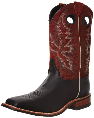 Justin Boots Men's U.S.A. Bent Rail Collection 11″ Boot Wide Square Double Stitch Toe Performance Rubber Outsole,Black Chester/Red Crackle,10.5 D US