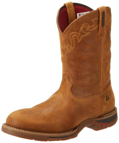 Rocky Men's Long Range Round Toe Tan Work Boot,Dessert Tan,8.5 M US