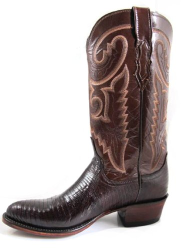Lucchese Men's cowboy Boots 1883 Collection T6181 IC Brown Lizard/Brown Buffalo Size 8.5