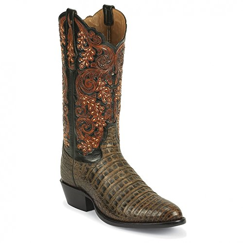 Tony Lama 1000 Men's 13-in Antique Caiman Belly Boot Pecan 9.5 D US
