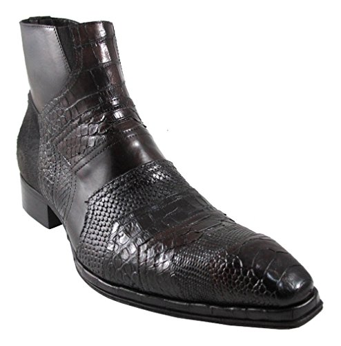 Jo Ghost 1336 Men's Exotic Lizard/Python/Pny Hair/Leather Dressy Ankle Boots Brown Size 40
