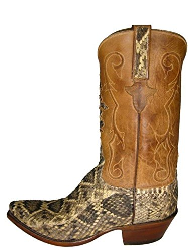 Lucchese Men's 1883 N7918.54 Eastern Diamondback Rattle snake skin/ tan mad dog goat Boots