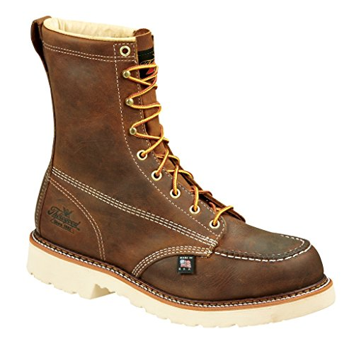 Thorogood Men's American Heritage 8 Inch Safety Toe Lace-up Boot, Brown, 9.5 2E US