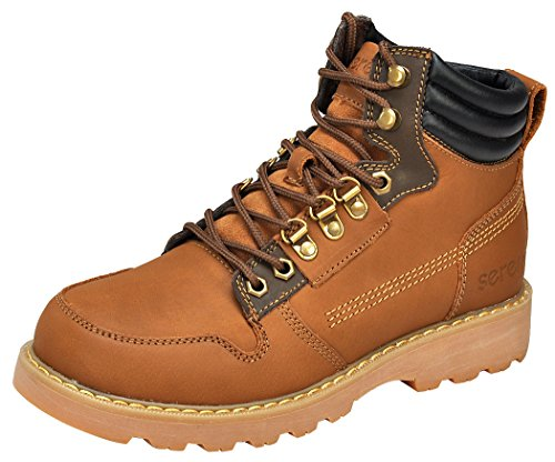 Serene Mens Leather Cuff Waterproof Lace-up Tactical Motorcyle Work Boots(9.5 D(M)US, 3161Brown)