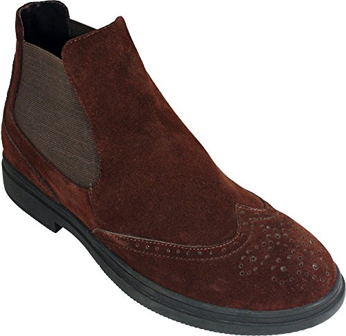 CALTO – G8101 – 3 Inches Taller – Size 11.5 D US – Height Increasing Elevator Shoes (Brown Suede Wing-tip Slip On Ankle Boot with Elastic)