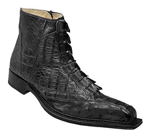 Fennix Genuine Hornback Crocodile / Ostrich Boots 3408 (10, Black)