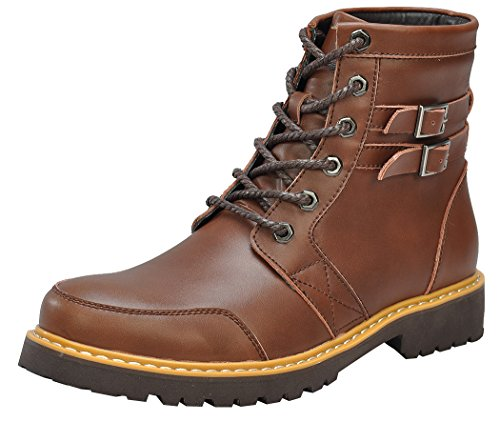 Serene Mens New Style Leather Double Buckle Soft Toe Lace-up Padded Western Low-heel Hiking Boots(11.5 D(M)US, 3180Brown)