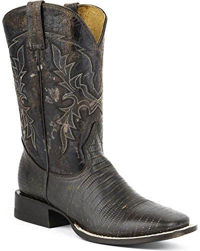 Roper Boots Mens Brown Leather 11in Faux Lizard Lazard Cowboy 11.5 D