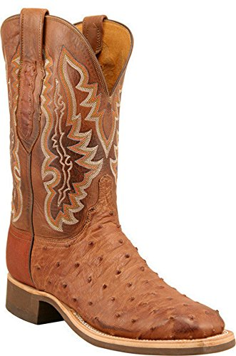 Lucchese Cowboy Collection Men's Brown Full Quill Ostrich Exotic