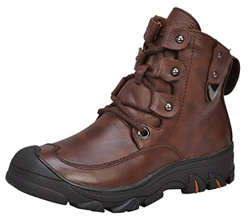 Serene Mens Winter Style Buckle Faux Fur lining Western Safety Combat Work Boots(9 D(M)US, 3172Coffee)