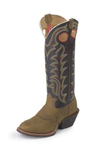 Tony Lama Men's RR1002 Boot,Tan Crazy Horse/Black Baron Calf,7 D US