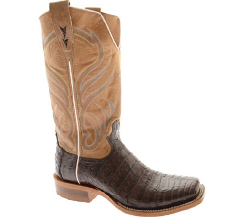 Twisted X Boots Men's MRAL005,Chocolate Caiman Gator/Glazed Camel Leather,US 9.5