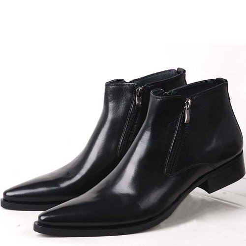 Genuine Leather Pointed Toe Chat Zip Men Formal Shoes Dress Boots (8, black)
