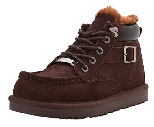 KAMEIQI Men Warm Thick Fluff Fasion Buckle Lace Up Clearance Snow Boots(Lover Shoes)(10D(M)US,coffee)