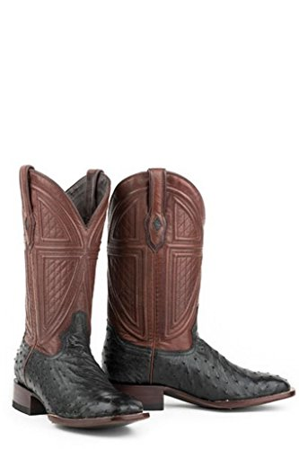 Stetson Dillon Mens Black Ostrich Quill Corded Cowboy Boots 11.5 D