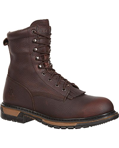 Rocky Men's Original Ride Waterproof Western Lacer Boot Safety Toe Dark Brn US