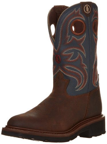 Tony Lama Boots Men's Crazy Horse Buffalo RR3208 Western Boot,Oak/Cadet Blue,10 D US