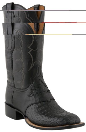 Lucchese C1062 Men's Black Waxy Horn Back Caiman Saddle/Black Jersey Calf Boots 9D-W8