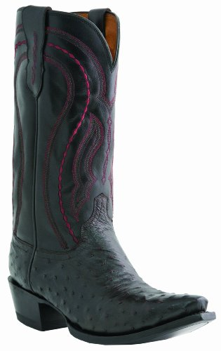 Lucchese Men's Handcrafted Drosseto Full Quill Ostrich Cowboy Boot Black US