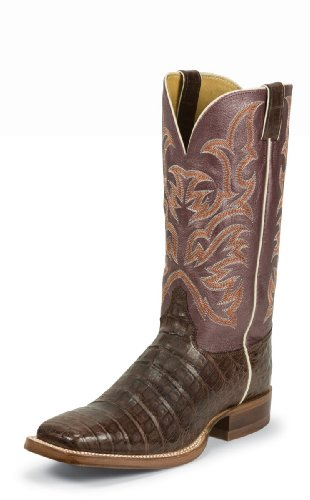 Justin Men's Aqha Vintage Caiman Belly Cowboy Boot Wide Square Toe Chocolate 10 D(M) US