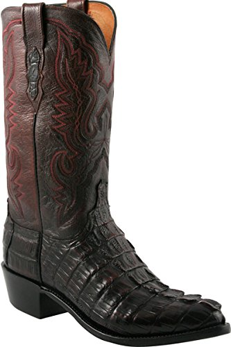 Mens Lucchese N1104.R4 1883 Black Cherry Caiman Giant Tail Crocodile Cowboy Boots, Size 10.5