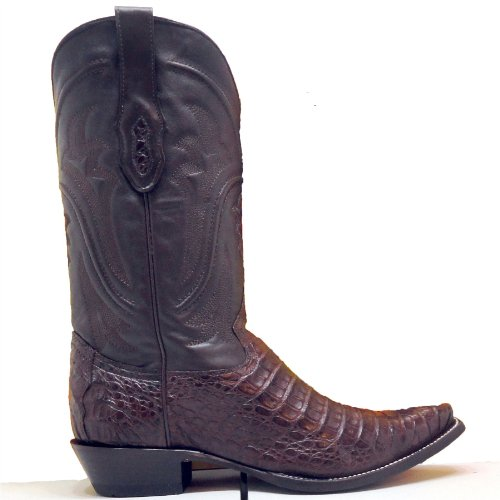 Corral Cowboy Boots Mens Chocolate Caiman Gator Belly Cut Snip Toe