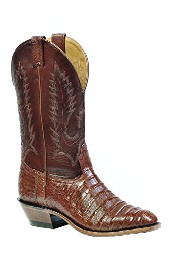 Boulet Men's Caiman Belly Cowboy Boot Round Toe Brown US