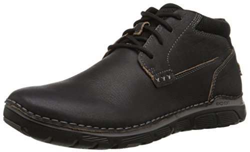 Rockport Men's Zonecush Plaintoe Chukka Boot, Black Tumbled, 11 XW US