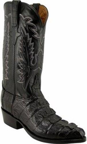 Men's Lucchese Classics L1325.23 Black Caiman Crocodile Tail Cowboy Boots