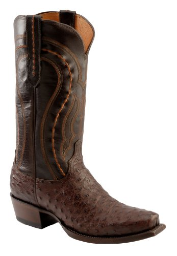 Lucchese Men's Handcrafted 1883 Western Full Quill Ostrich Cowboy Boot Square Sienna US