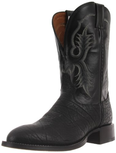 Tony Lama Men's Bullhide CT2036 Boot,Black Bullhide/Black Kid,12 2E US