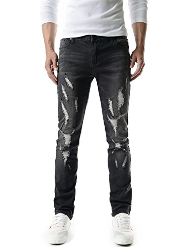 (TJ1198) Mens Casual Slim Fit Vintage Distressed Destroyed Washing Denim Jeans BLACK 30W/31L (Tag size Medium)